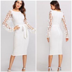 Dresses & Skirts - WHITE Flower Applique Mesh Sleeve Fitting Dress